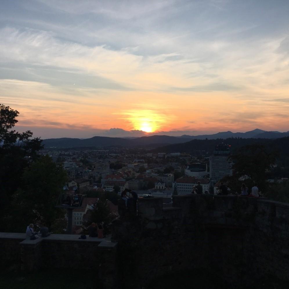 sunset from Ljubljana Castle